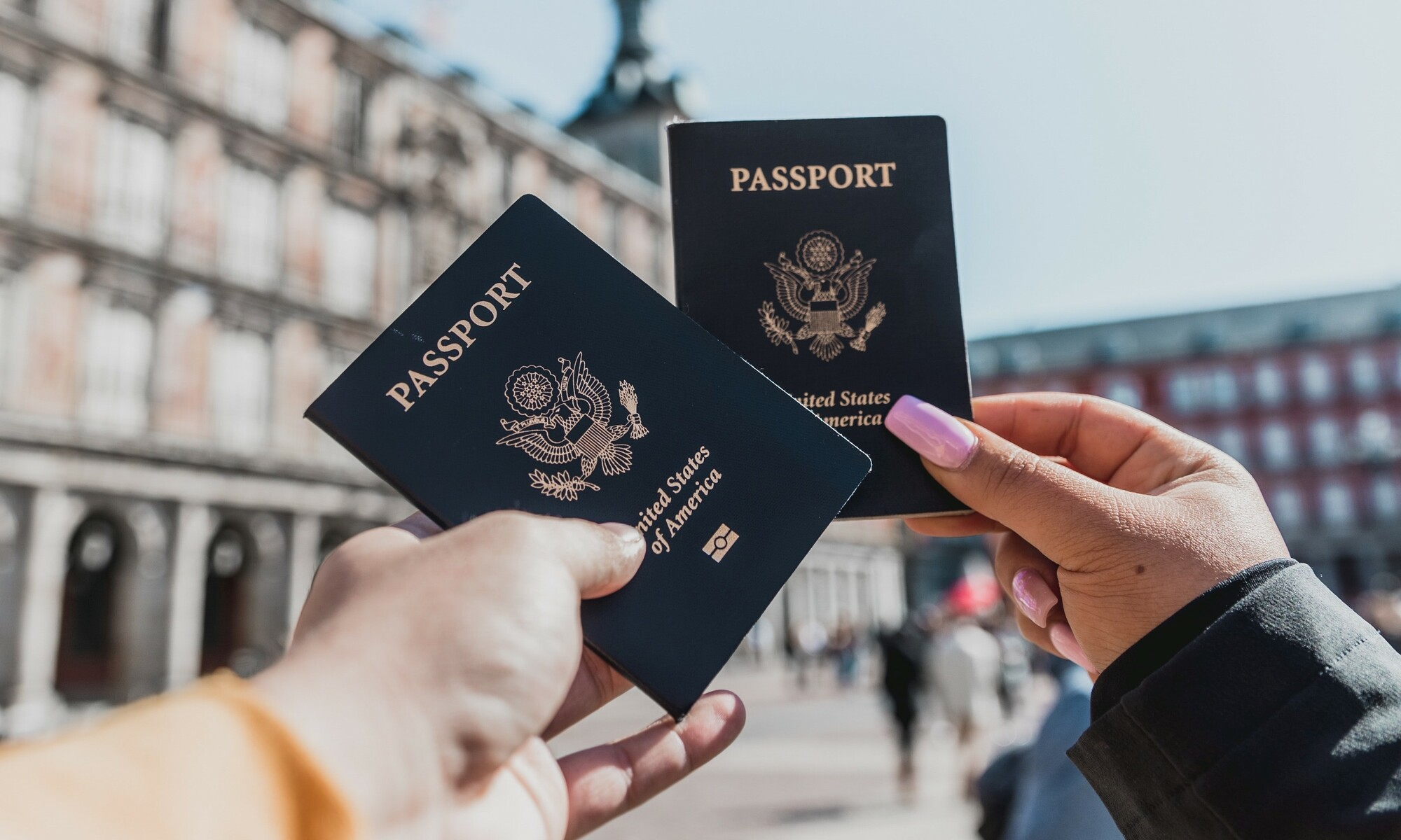 Couple with passports