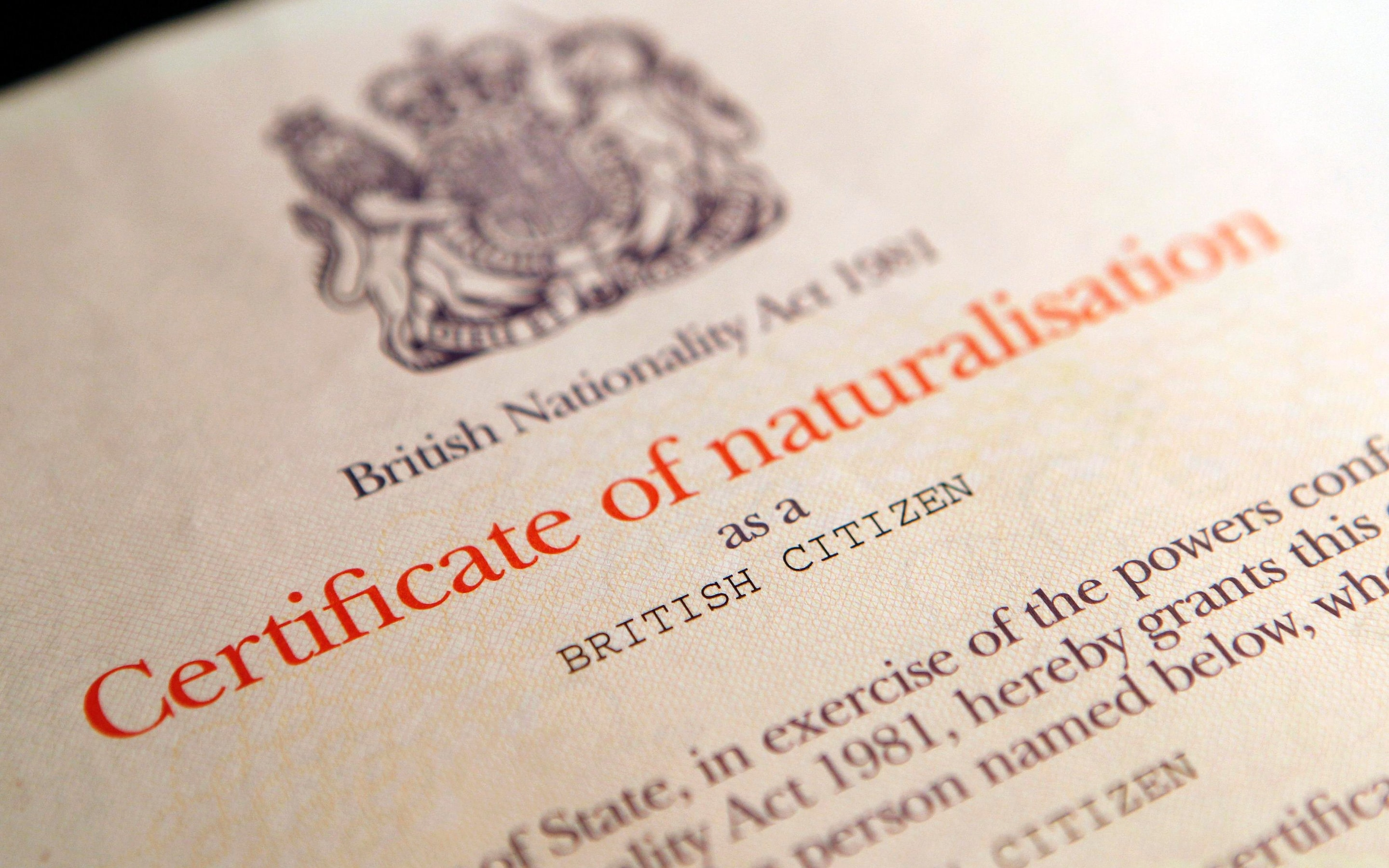 British naturalisation certificate.