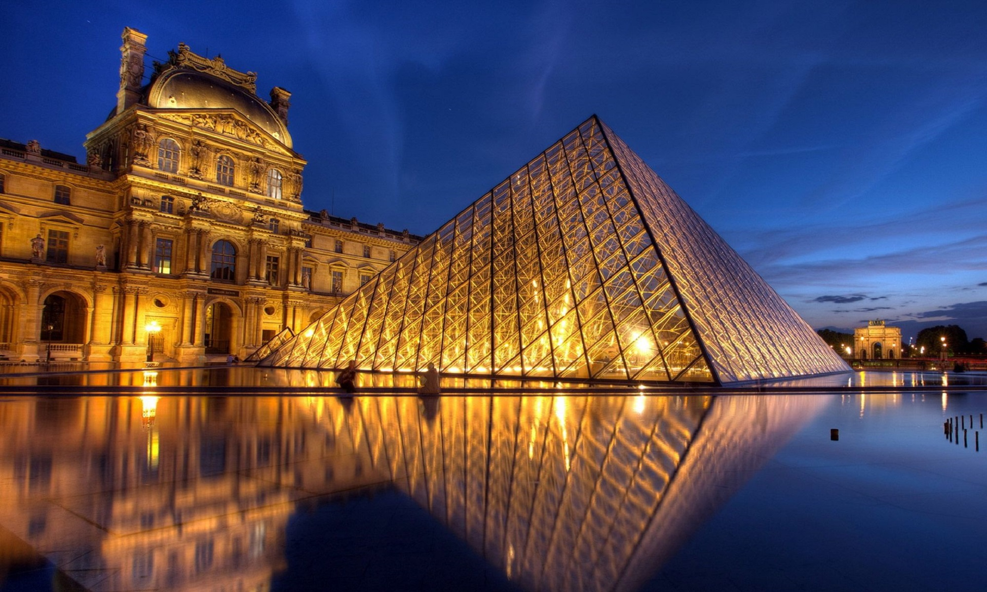 Louvre at night.
