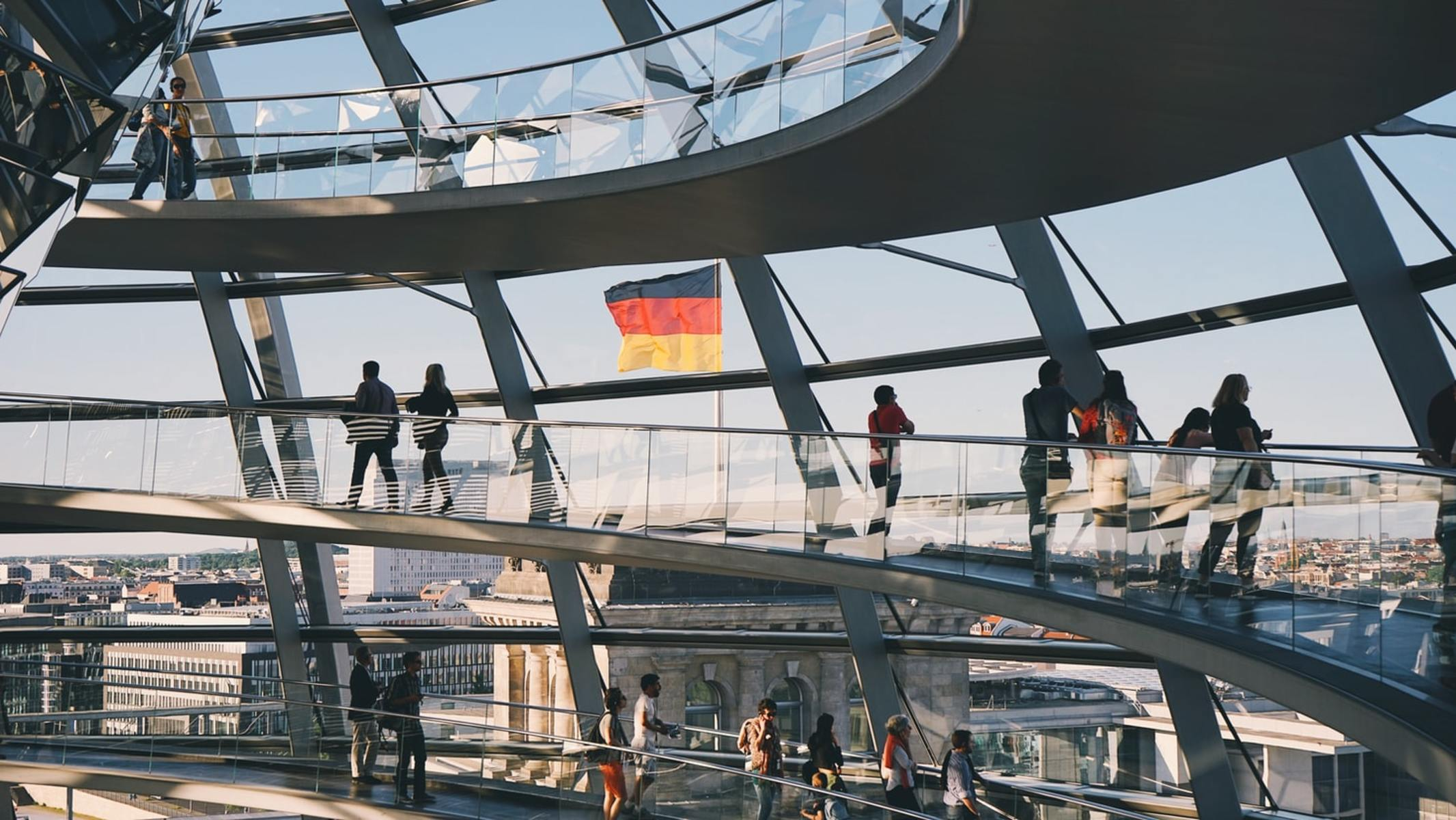 Reichstag and german flag
