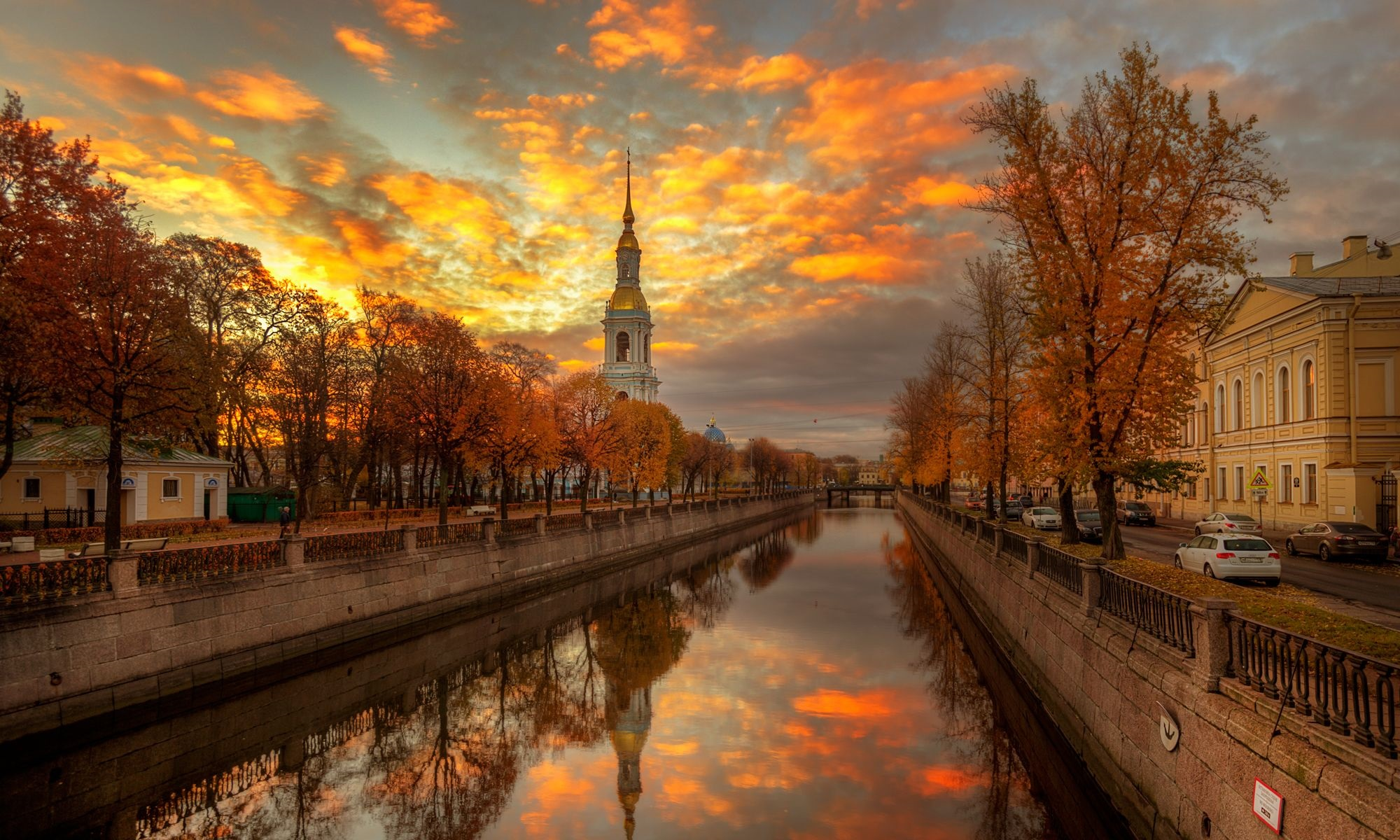 Saint Petersburg canal in autumn.