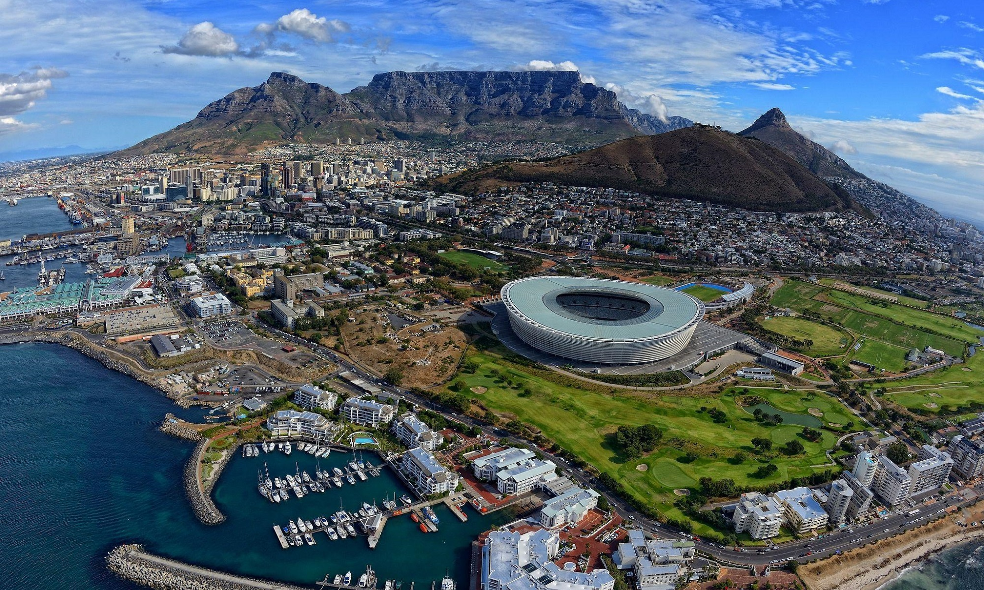 Aerial view of Capetown, South Africa.