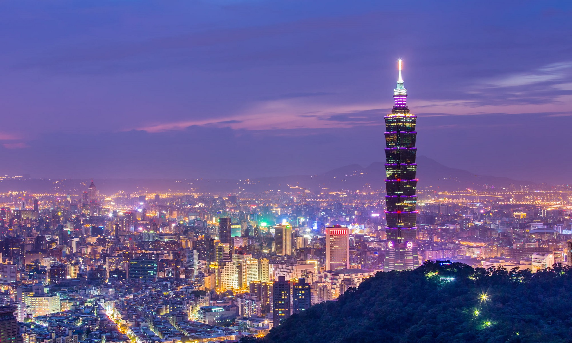 Taipei city night skyline