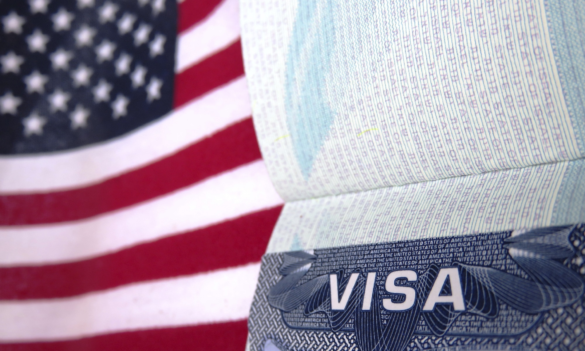 American visa and flag