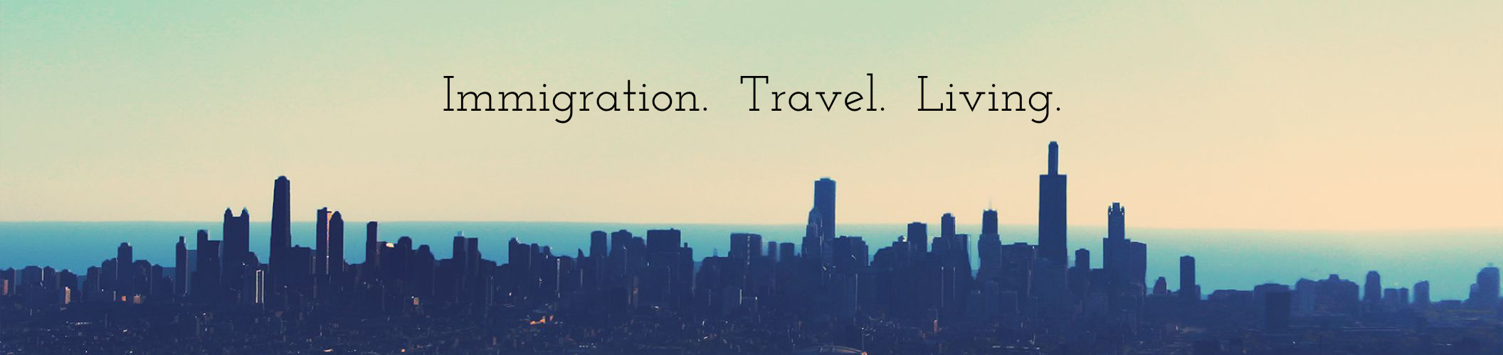 City skyline with text: immigration, tourism, living