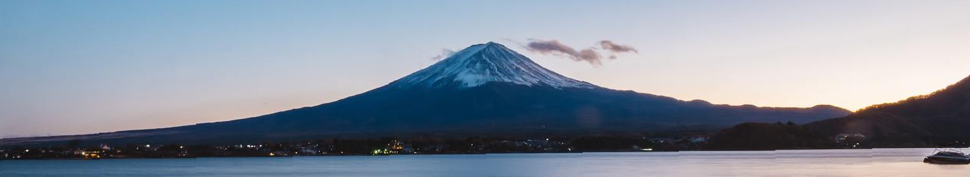 Mount Fuji by the lake.