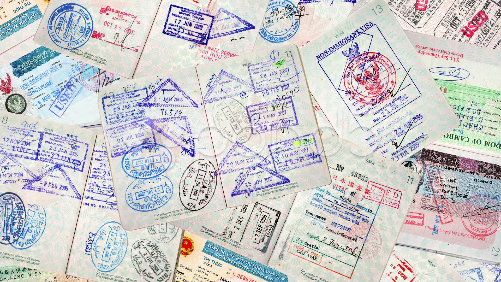 A pile of passports with visa stamps.